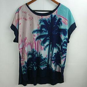New APT. 9 Tropical Print Short Sleeve T-Shirt XL